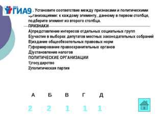 В1. Установите соответствие между признаками и политическими организациями: к