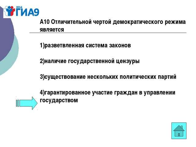 А10 Отличительной чертой демократического режима является 1)разветвленная сис...