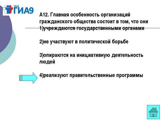 А12. Главная особенность организаций гражданского общества состоит в том, что...