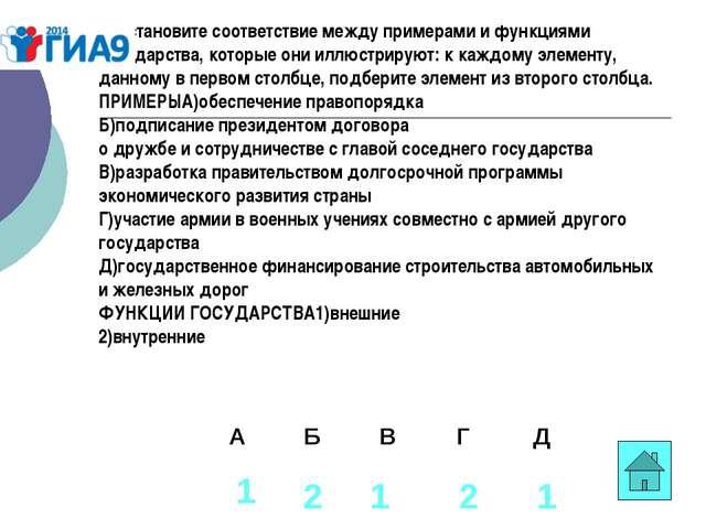 В1. становите соответствие между примерами и функциями государства, которые о...