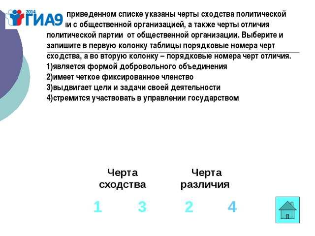 В1. В приведенном списке указаны черты сходства политической партии c обществ...