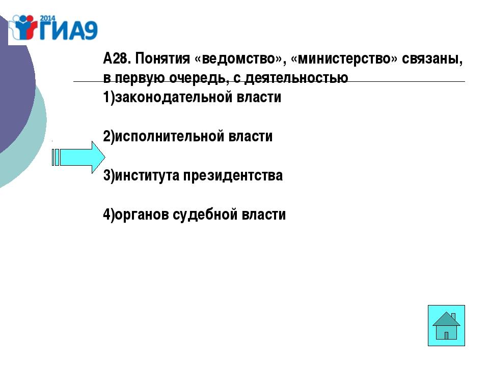 А28. Понятия «ведомство», «министерство» связаны, в первую очередь, сдеятель...