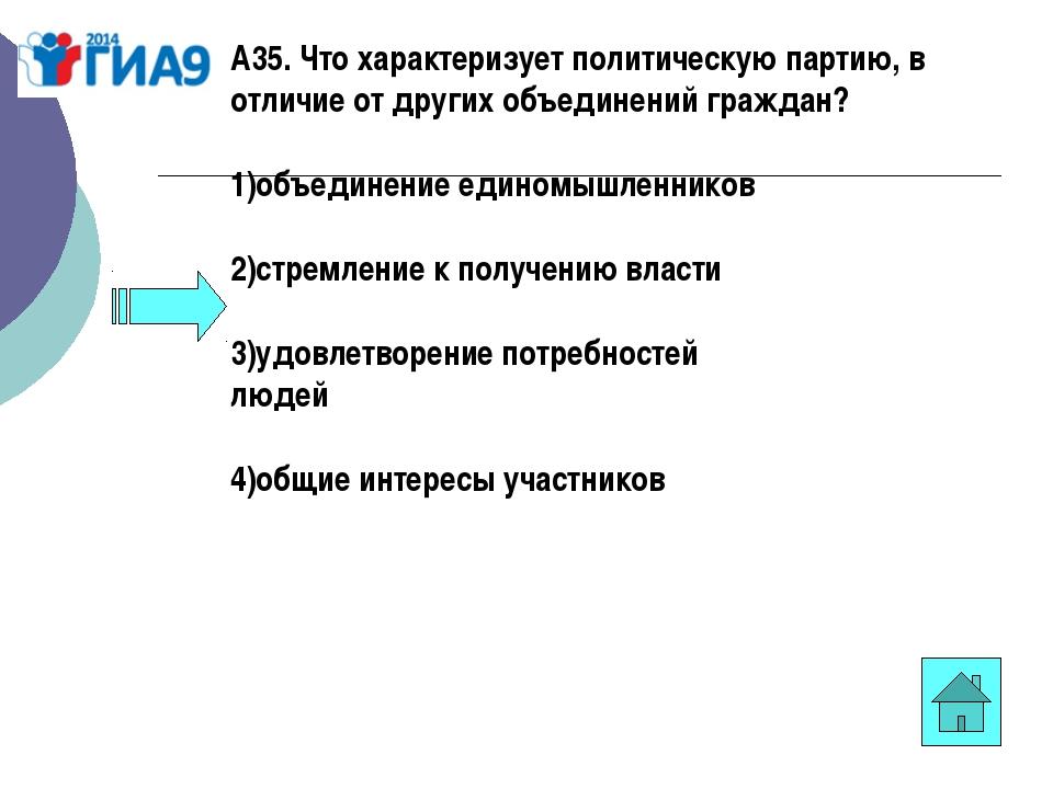 А35. Что характеризует политическую партию, в отличие от других объединений г...
