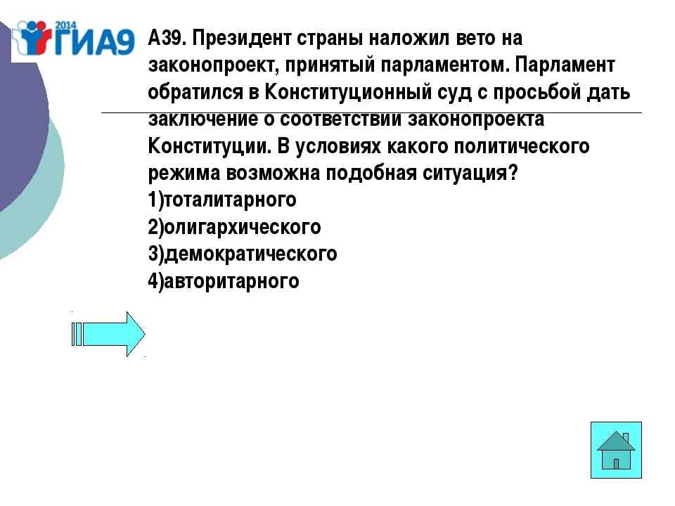 А39. Президент страны наложил вето на законопроект, принятый парламентом. Пар...
