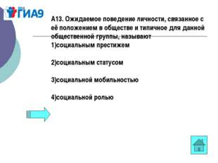 А13. Ожидаемое поведение личности, связанное с её положением в обществе и тип