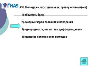 А31. Молодежь как социальную группу отличает(-ют) 1)общность быта 2)с