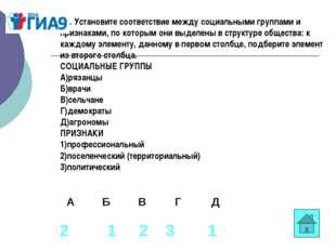 В1. Установите соответствие между социальными группами и признаками, по котор