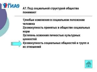 А7. Под социальной структурой общества понимают 1)любые изменения в социально