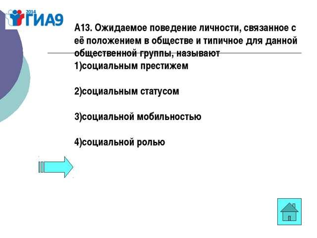 А13. Ожидаемое поведение личности, связанное с её положением в обществе и тип...