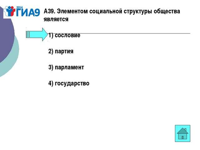 А39. Элементом социальной структуры общества является 1)сословие 2)па...