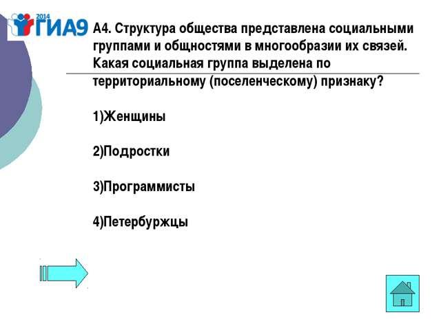 А4. Структура общества представлена социальными группами и общностями в много...