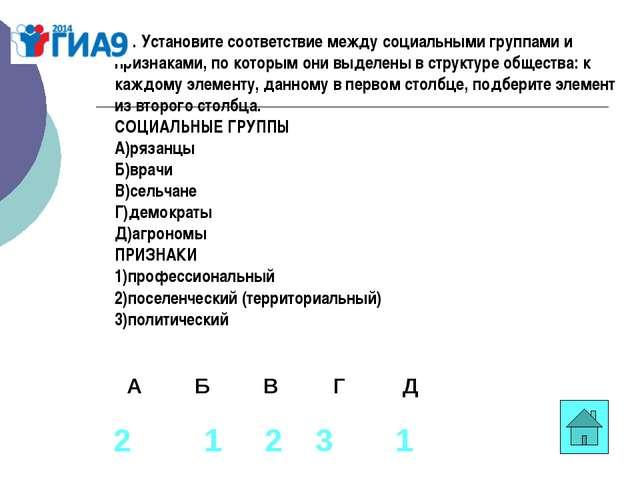 В1. Установите соответствие между социальными группами и признаками, по котор...