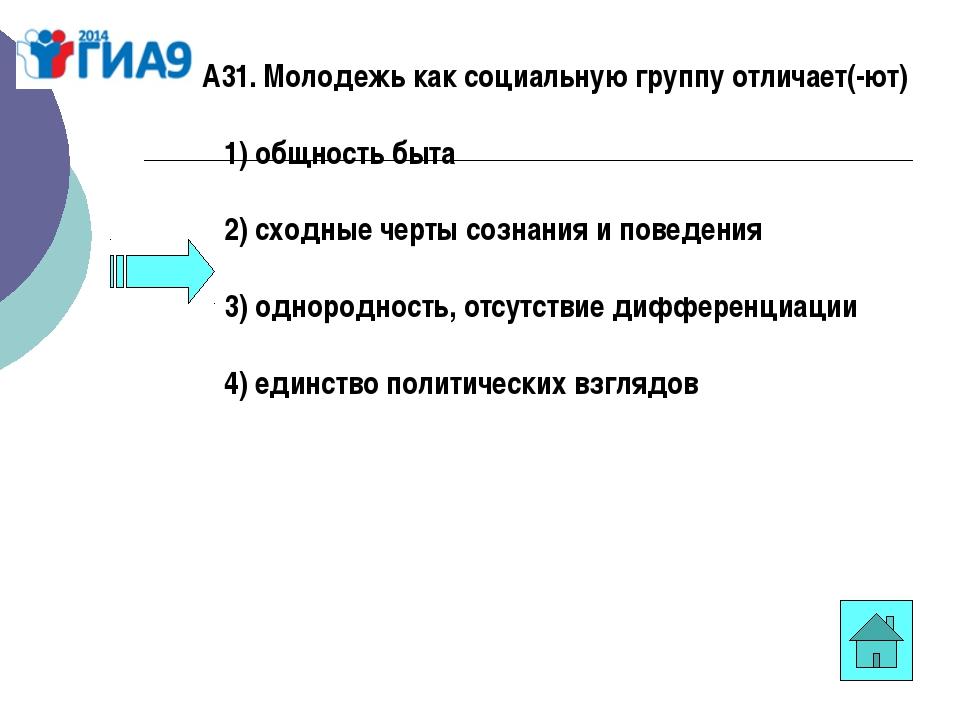А31. Молодежь как социальную группу отличает(-ют) 1)общность быта 2)с...