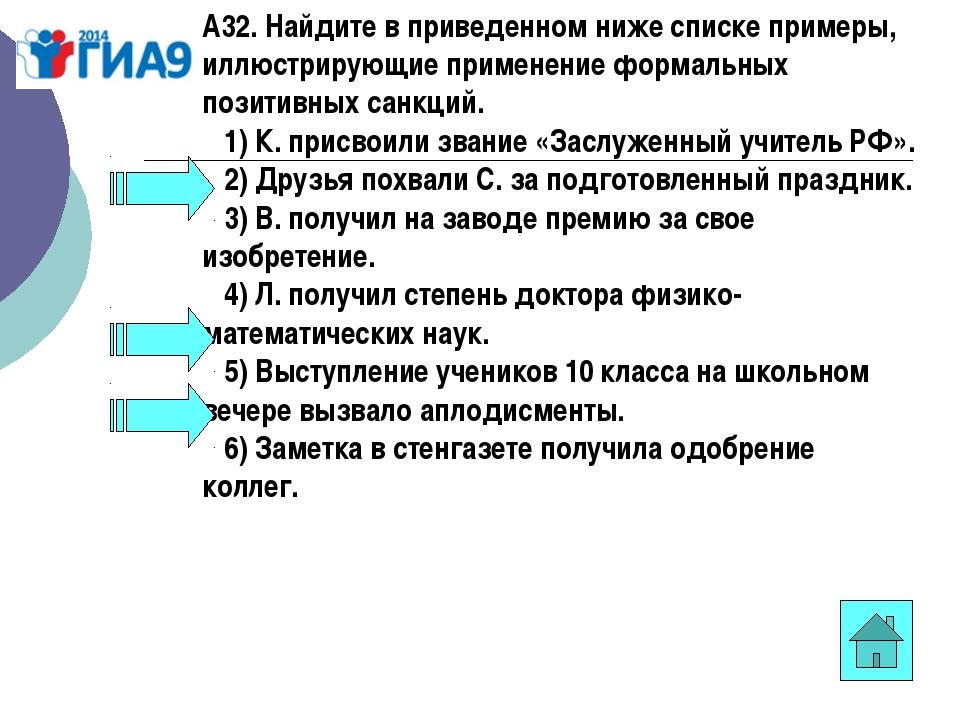 А32. Найдите в приведенном ниже списке примеры, иллюстрирующие применение фор...