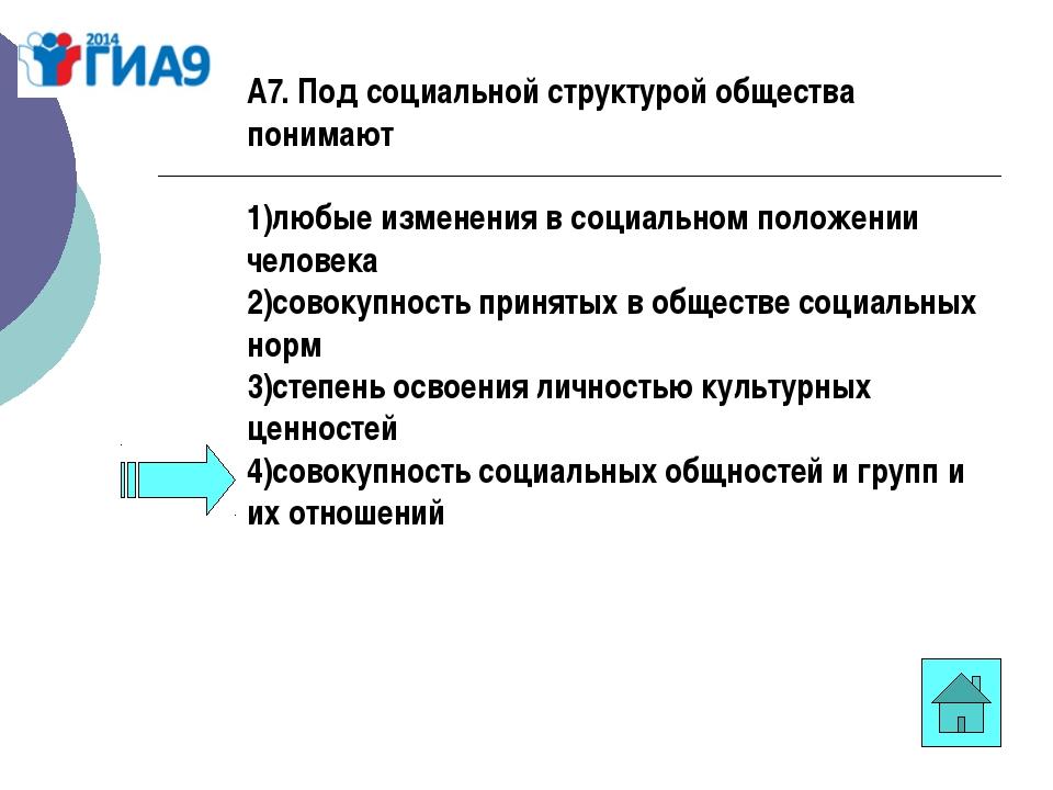 А7. Под социальной структурой общества понимают 1)любые изменения в социально...