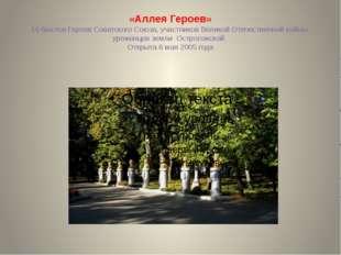 «Аллея Героев» 16 бюстов Героев Советского Союза, участников Великой Отечеств