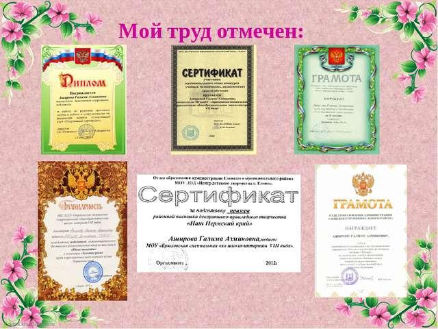 Мой труд отмечен: FokinaLida.75@mail.ru