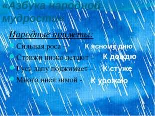 «Азбука народной мудрости» Народные приметы: Сильная роса – Стрижи низко лета