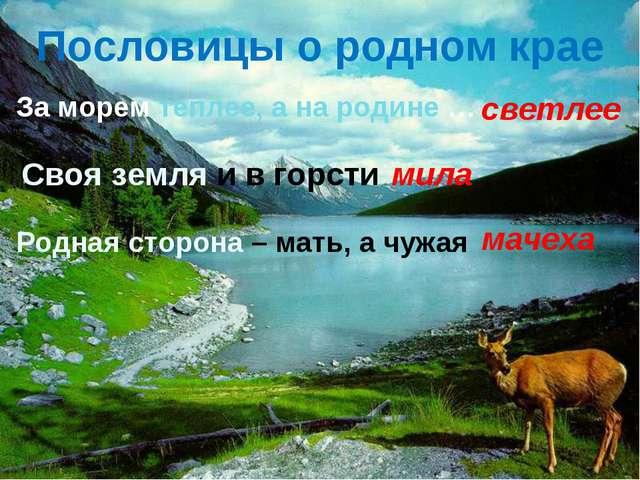 Пословицы о родном крае За морем теплее, а на родине … светлее Своя земля и в...
