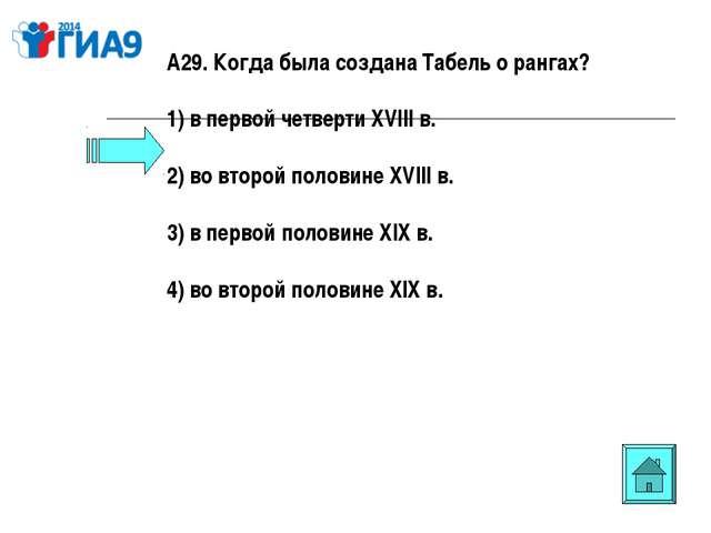 А29. Когда была создана Табель о рангах? 1) в первой четверти XVIII в. 2) во...
