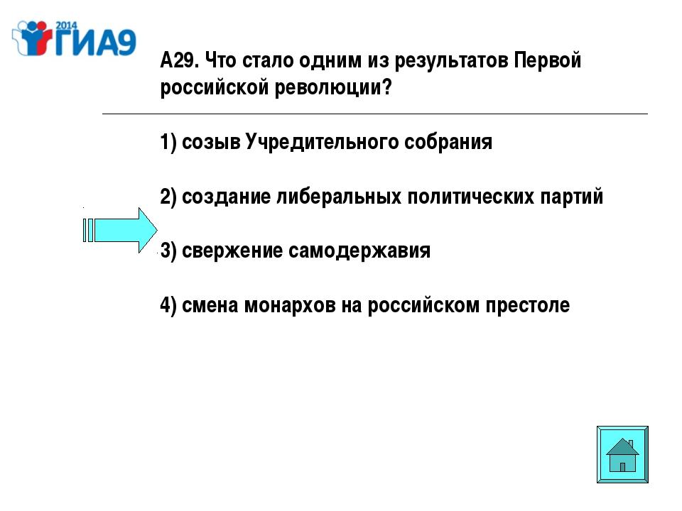 А29. Что стало одним из результатов Первой российской революции? 1) созыв Учр...