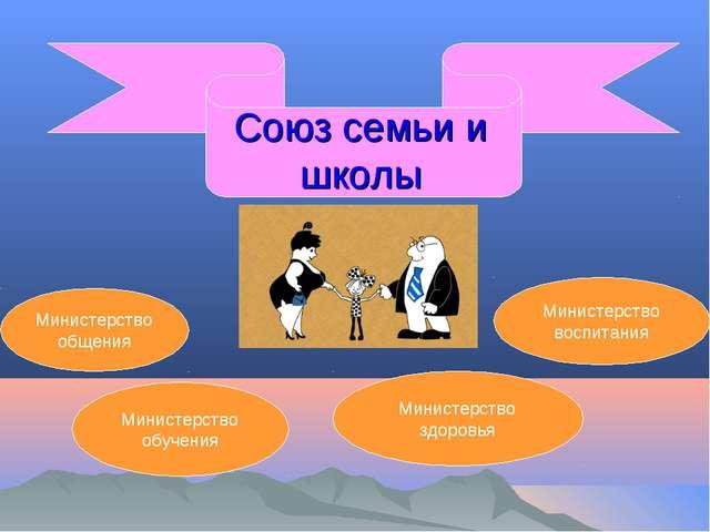 Союз семьи и школы Министерство общения Министерство обучения Министерство зд...