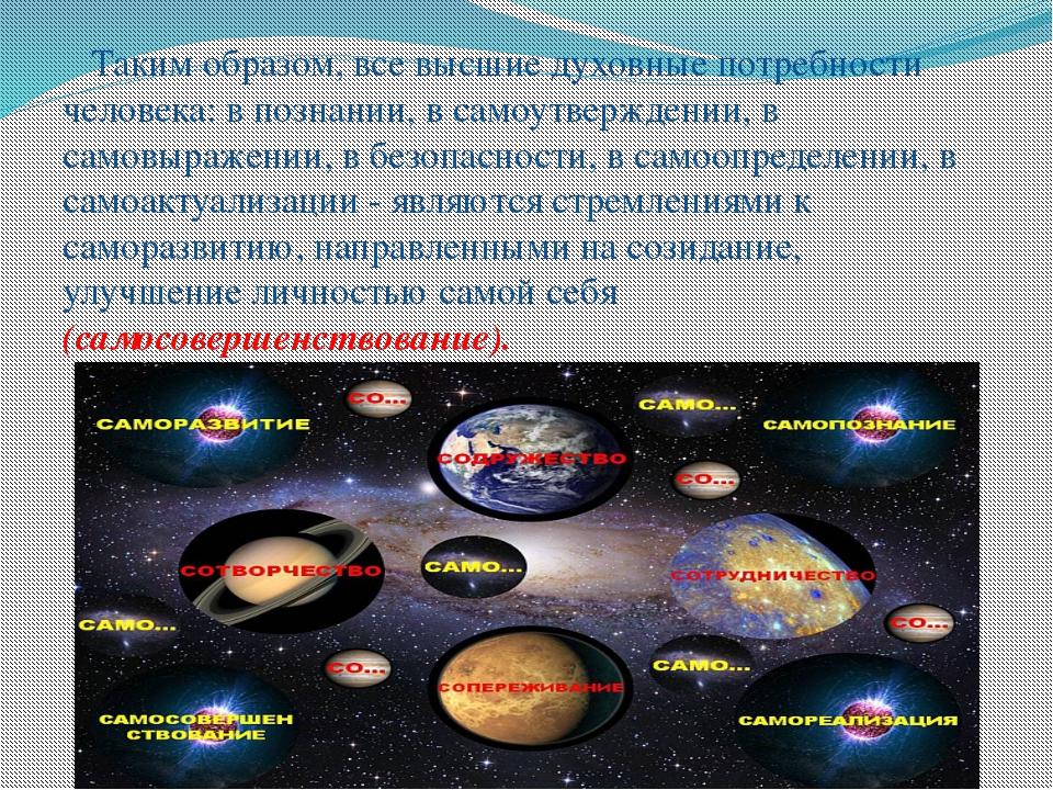 Таким образом, все высшие духовные потребности человека: в познании, в самоу...