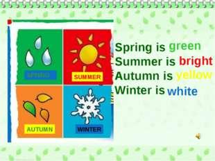 SPRING SUMMER AUTUMN WINTER Spring is Summer is Autumn is Winter is green bri