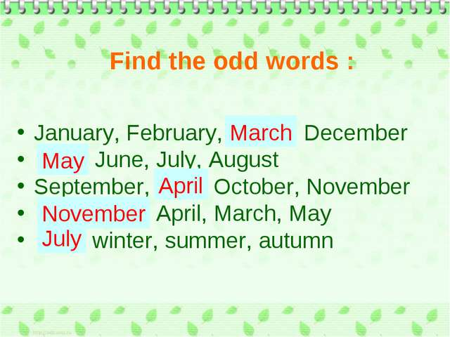 January, February, March, December May, June, July, August September, April,...