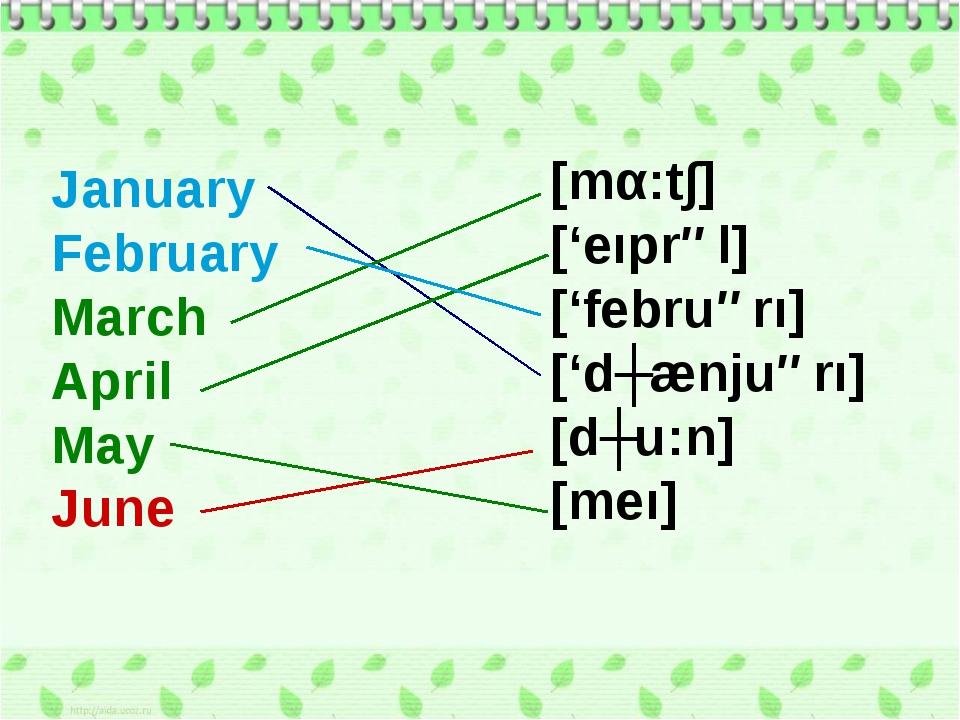 January February March April May June [mα:t∫] ['eıprəl] ['februərı] ['dʒænjuə...