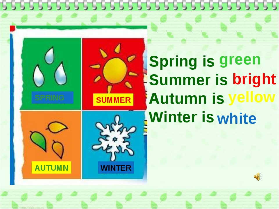 SPRING SUMMER AUTUMN WINTER Spring is Summer is Autumn is Winter is green bri...