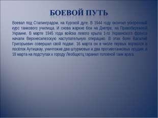 Воевал под Сталинградом, на Курской дуге. В 1944 году окончил ускоренный курс