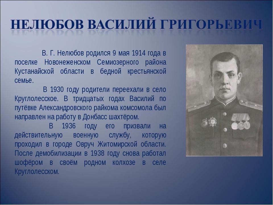 В. Г. Нелюбов родился 9 мая 1914 года в поселке Новонеженском Семиозерного р...