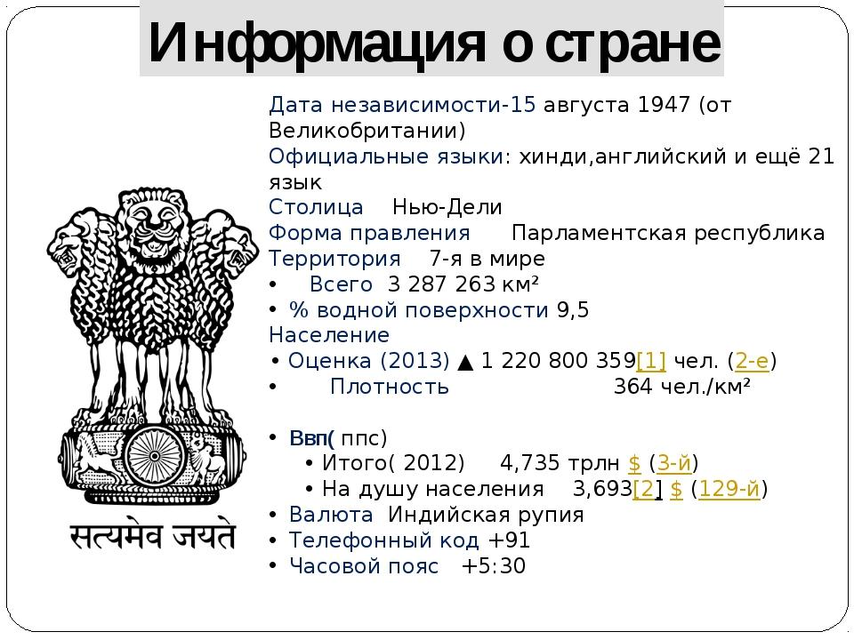 Информация о стране Дата независимости-15 августа 1947 (от Великобритании) Оф...