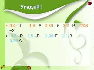 0,4 – Г 1,6 –А 0,39 –Я 3,2 –Р 1,48 –У 0,3 –Р 1,5 –Б 2,06-Е 2,1-З 0,29 А