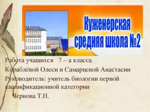 Работа учащихся 7 – а класса Кораблёвой Олеси и Самарцевой Анастасии Руковод