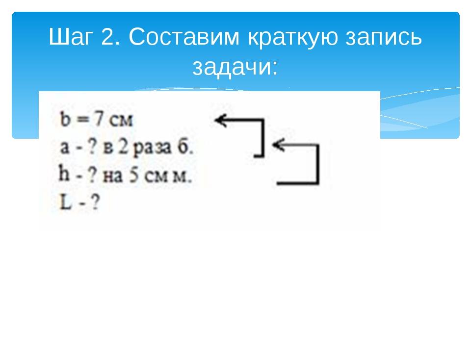 Шаг 2. Составим краткую запись задачи:
