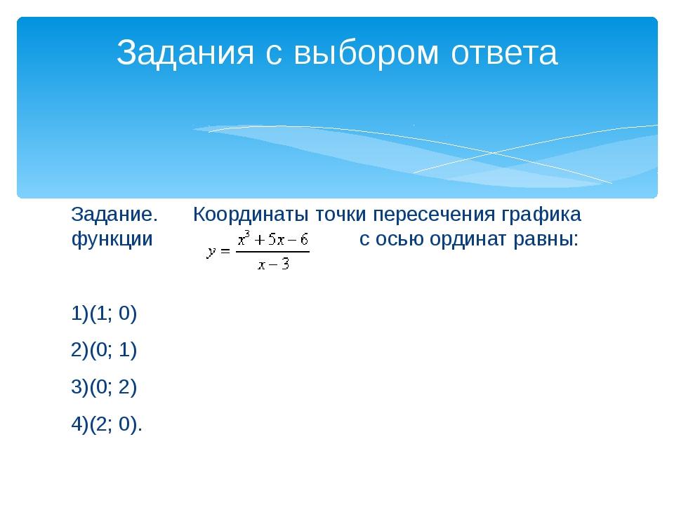 Задание. Координаты точки пересечения графика функции с осью ординат равны:...