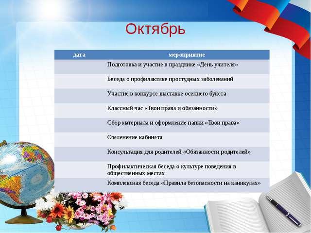 Октябрь дата мероприятие Подготовка и участие в празднике «День учителя» Бесе...