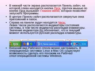 В нижней части экрана располагаетсяПанель задач,на которой слева находится