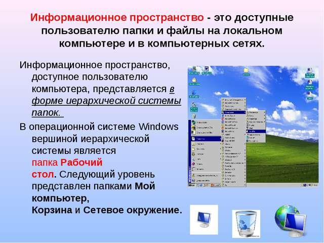 Информационное пространство - это доступные пользователю папки и файлы на лок...