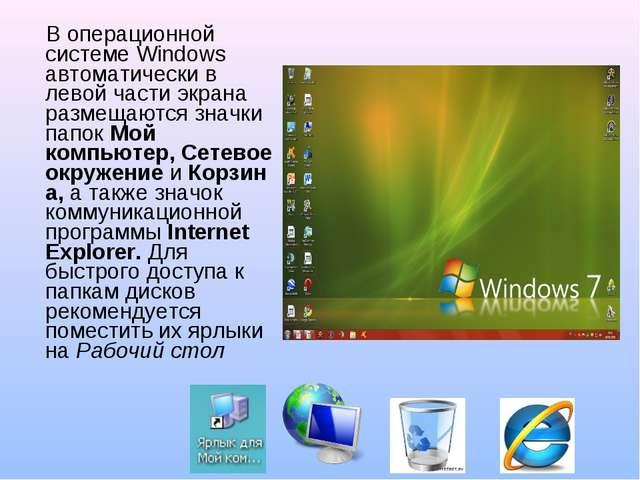 В операционной системе Windows автоматически в левой части экрана размещаютс...