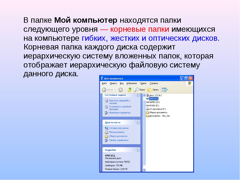 В папкеМой компьютернаходятся папки следующего уровня — корневые папки име...