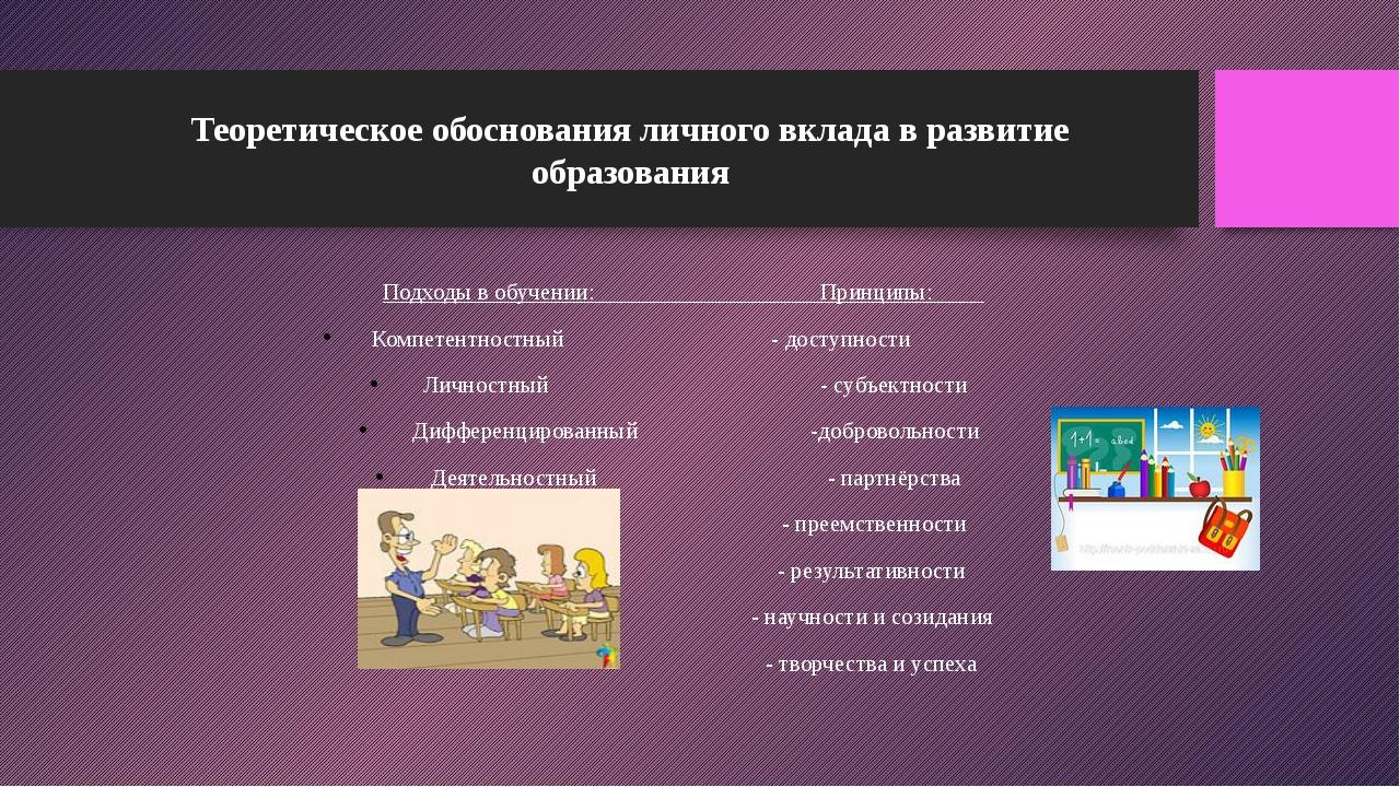 Теоретическое обоснования личного вклада в развитие образования Подходы в обу...