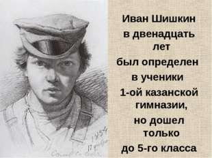 Иван Шишкин в двенадцать лет был определен в ученики 1-ой казанской гимназии