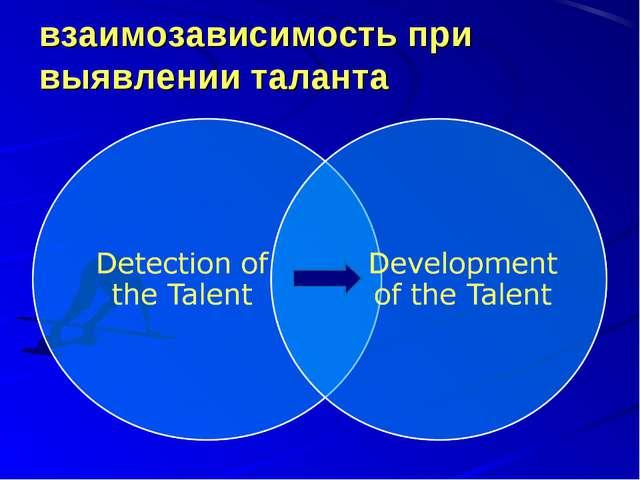 взаимозависимость при выявлении таланта