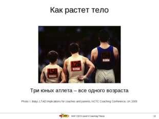 IAAF CECS Level II Coaching Theory * Три юных атлета – все одного возраста Ph