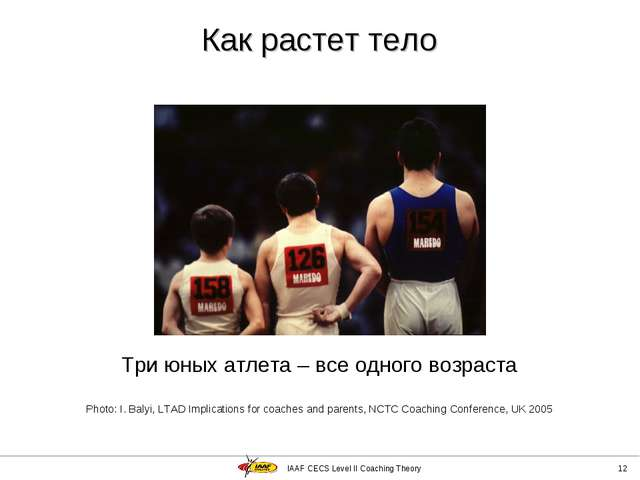 IAAF CECS Level II Coaching Theory * Три юных атлета – все одного возраста Ph...