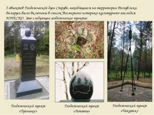 5 объектов Геодезической дуги Струве, находящиеся на территории Республики Бе