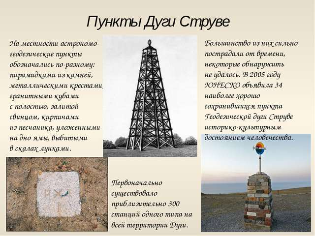 Пункты Дуги Струве На местности астрономо-геодезические пункты обозначались п...